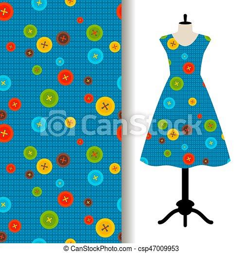 Muster, nähen, kleiden, stoff, womens. Blauer stoff, muster ...