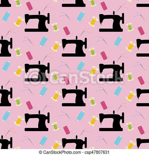 Muster, nähen, seamless. Rosa, muster, nähen, abbildung, hintergrund ...