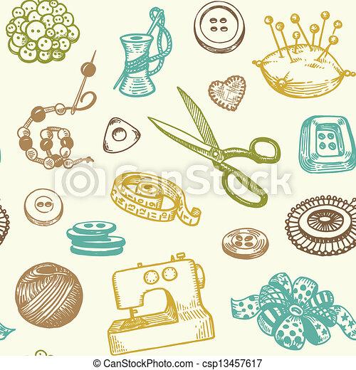 Muster, nähen, seamless. Muster, nähen, handarbeit,... Vektor ...