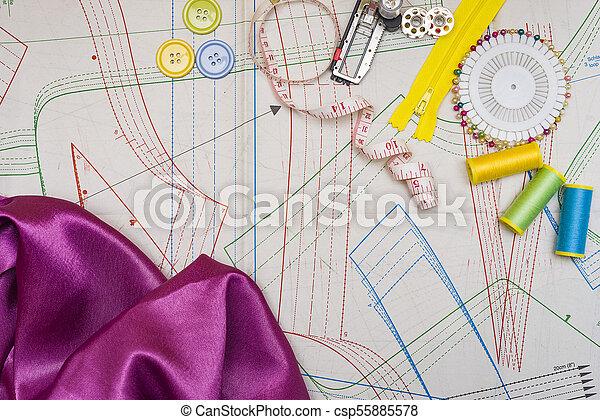 Muster, schneiden, nähen. Nähen, accessoirs, muster, papier, kopie ...
