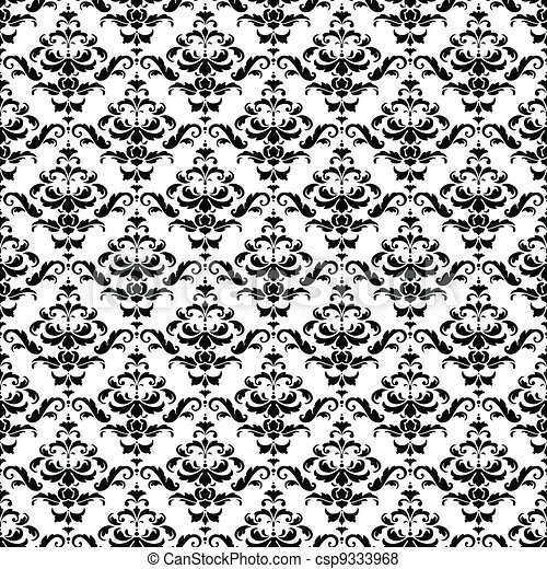 muster schwarz wei seamless damast csp9333968 - Tapete Schwarz Weis Muster