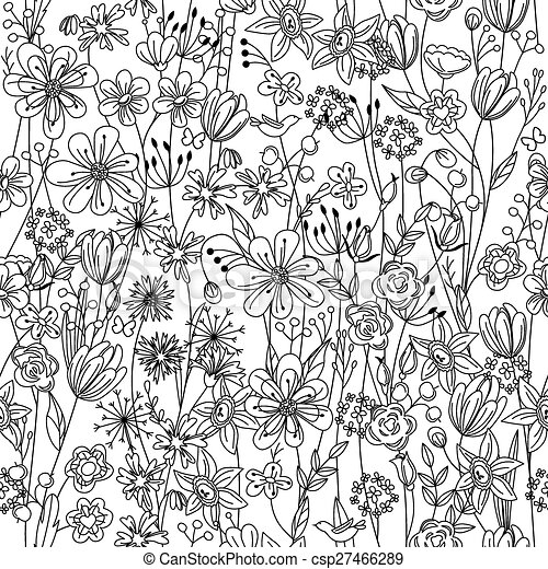 Muster, schwarzweiss, blumen, seamless, kontur. Muster,... Vektor ...