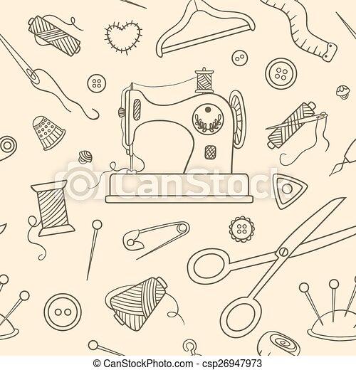 Muster, skizze, nähen, seamless. Skizze, nähen, pattern., seamless ...