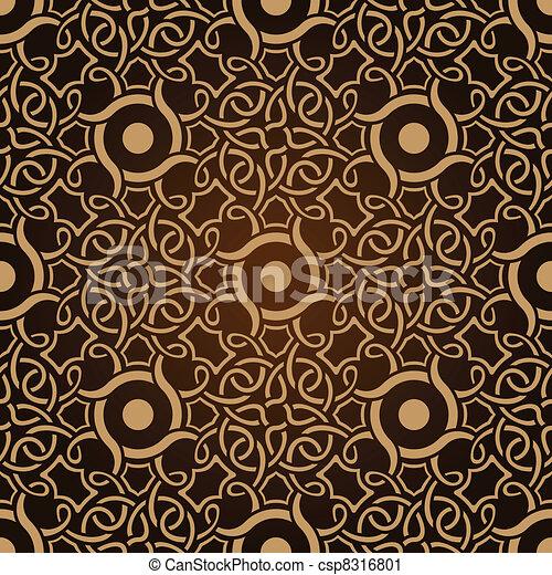 muster, tapete, seamless, brauner - csp8316801