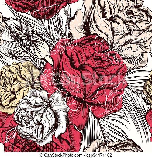 Muster, tapete, seamless, hand, rosen, gezeichnet, design.eps. Stil ...