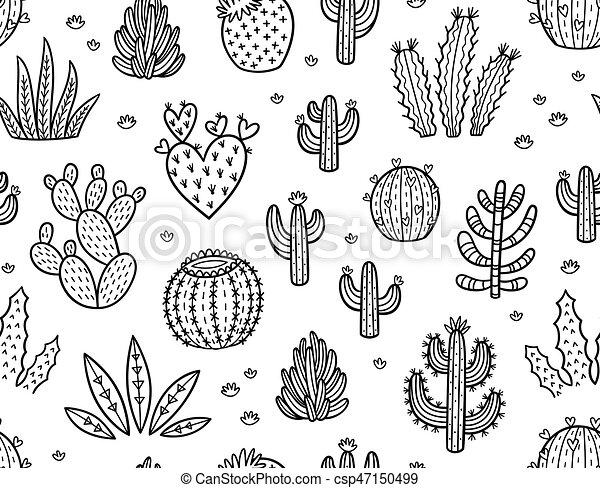 Muster, tinte, kaktusse, seamless. Outline., färbung,... EPS ...