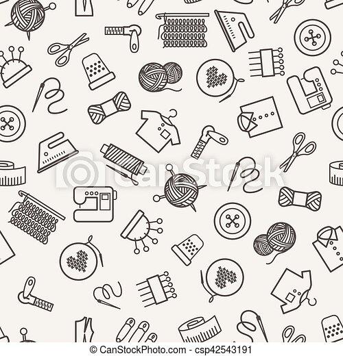 Muster, vektor, nähen. Linear, elements., muster, nähen, abbildung ...