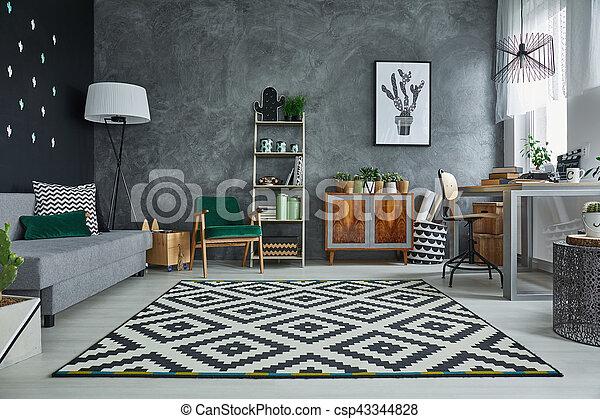 Muster Zimmer Grau Teppich Zimmer Holzern Muster Grau