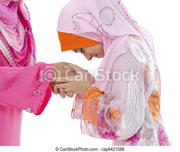 musulmán, saludo - csp9421588