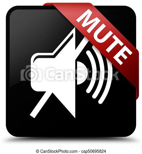 Mute black square button red ribbon in corner - csp50695824