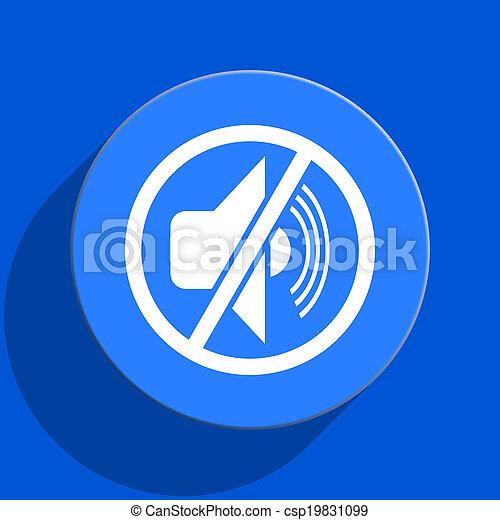 mute blue web flat icon - csp19831099