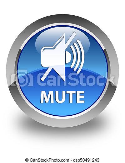 Mute glossy blue round button - csp50491243