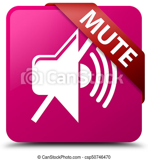 Mute pink square button red ribbon in corner - csp50746470