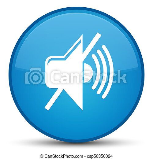 Mute volume icon special cyan blue round button - csp50350024