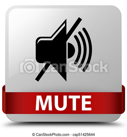 Mute white square button red ribbon in middle - csp51425644