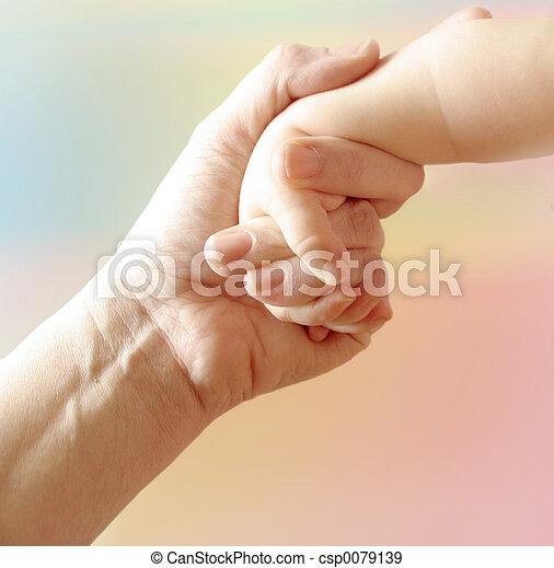 mutter, hand, kind - csp0079139