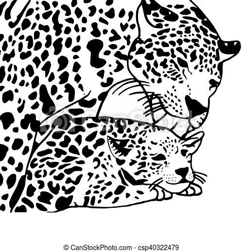 Mutter, leopard, kind. Färbung, kind, leopard, hoch, mutter ...