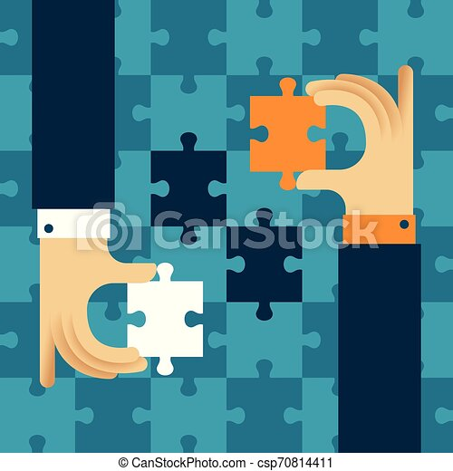 Mutually beneficial cooperation vector concept with jigsaw puzzle in flat style - csp70814411