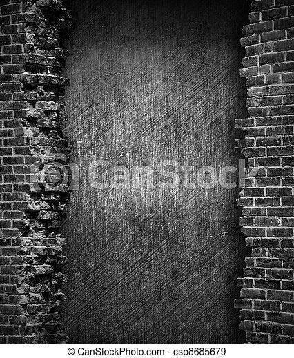 muur, baksteen, grunge, achtergrond - csp8685679