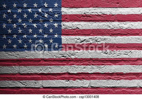 muur, baksteen, vlag, schilderij, usa - csp13001408