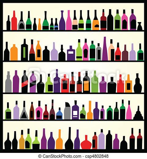 muur, flessen, alcohol - csp4802848