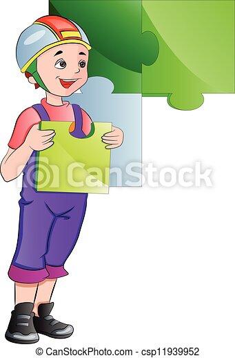 muur, jongen, vervolledigen, illustratie, raadsel - csp11939952