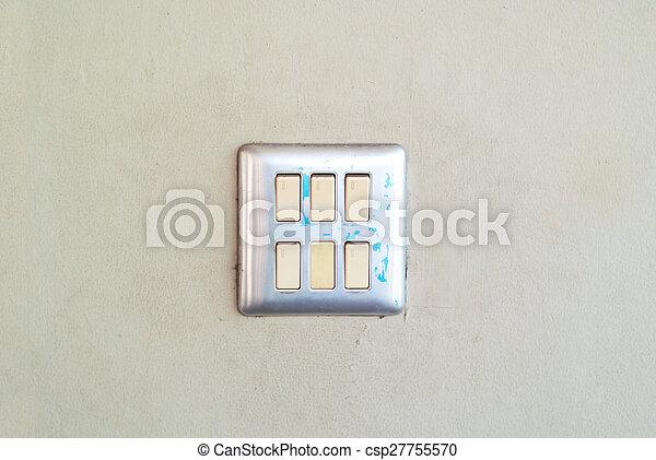 muur, lichte schakelaar, zacht - csp27755570