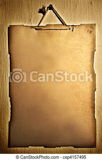 muur, papier, oud, opgeknoopt - csp4157495