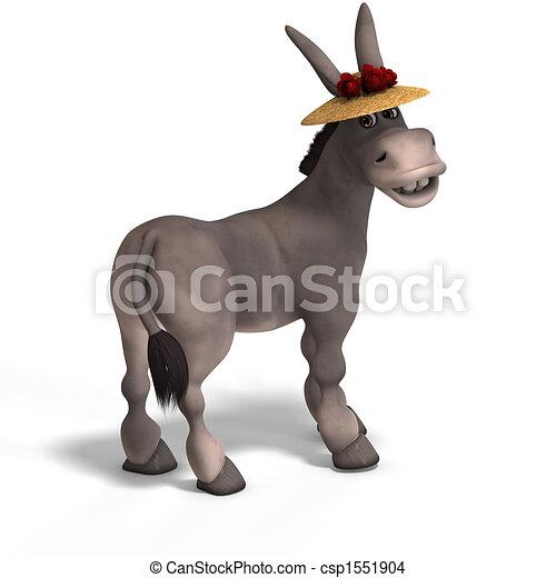 Dibujo de muy lindo burro toon  dulce caricatura burro con