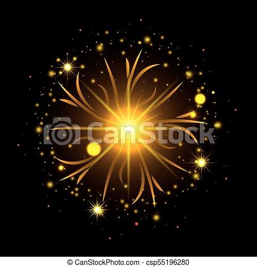 Fuegos artificiales estallando en forma de sol con destellos amarillos en el fondo negro - csp55196280