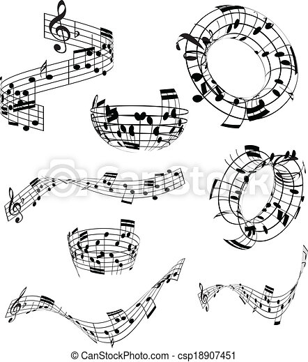 muzieknota's, abstract - csp18907451