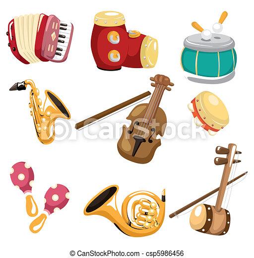 muzikalisch, spotprent, instrument, pictogram - csp5986456