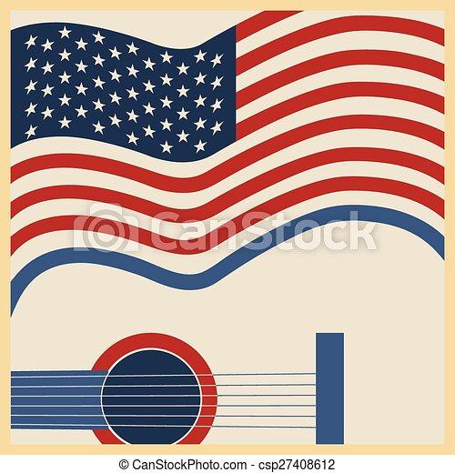 muzyka, amerykanka, kraj, afisz - csp27408612