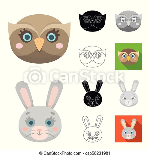 Muzzles of animals cartoon, black, flat, monochrome, outline icons in set collection for design. Wild and domestic animals vector symbol stock web illustration. - csp58231981