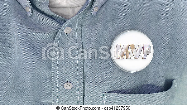 MVP Most Valuable Player Person Button Pin Shirt 3d Illustration - csp41237950