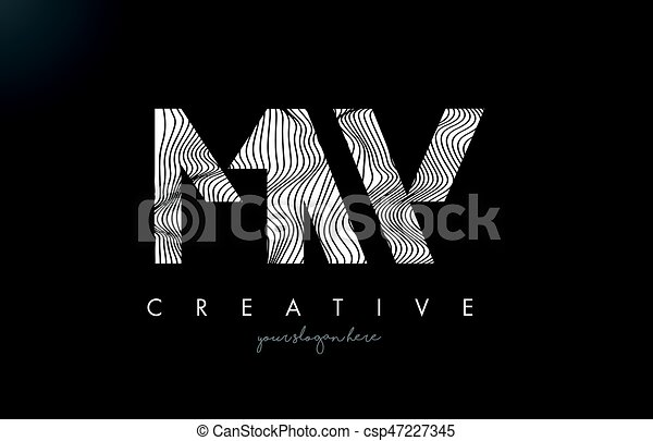 Line Design Clipart Free : Mw m w letter logo with zebra lines texture design vector eps