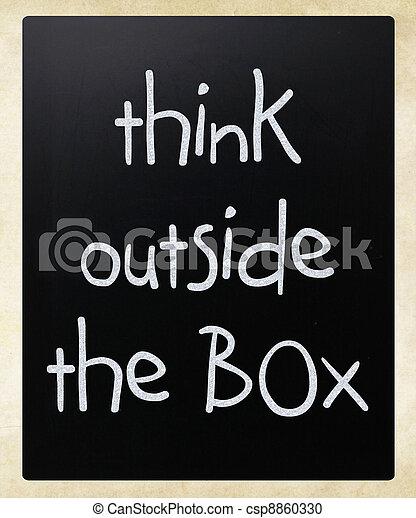 myśleć, zewnątrz, -, boks, pojęcie - csp8860330