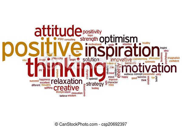myślenie, dodatni, słowo, chmura - csp20692397
