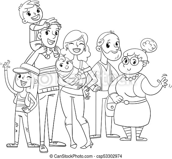 My big family posing together. coloring book. My big family posing ...