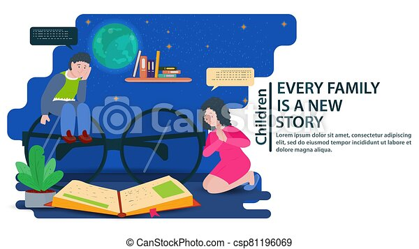 My father is sitting on big glasses my mother is on her lap looking at a book a concept for banners and websites and postcards vector flat illustration - csp81196069