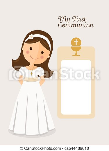 my first communion invitation with message and grey background