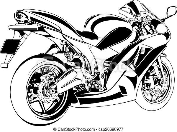 Line Art Vector Design : My original motorbike design on the white background vectors