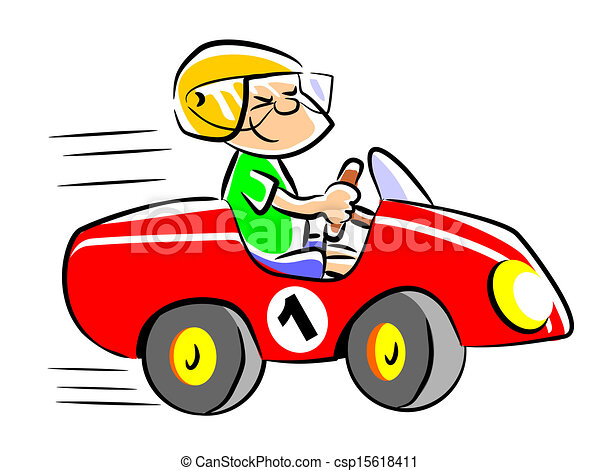 my red toy car little boy playing in his pedal car child vector rh canstockphoto com red toy car clipart toy car clipart free