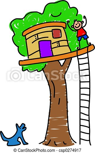 my tree house little boy waving from his tree house stock rh canstockphoto com tree house clip art free build a treehouse clipart