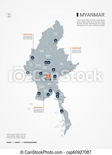 myanmar burma infographic map vector illustration myanmar burma map Capital of Burma myanmar burma infographic map vector illustration csp60927087