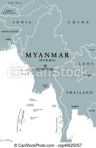 Myanmar burma political map Myanmar political map with clipart