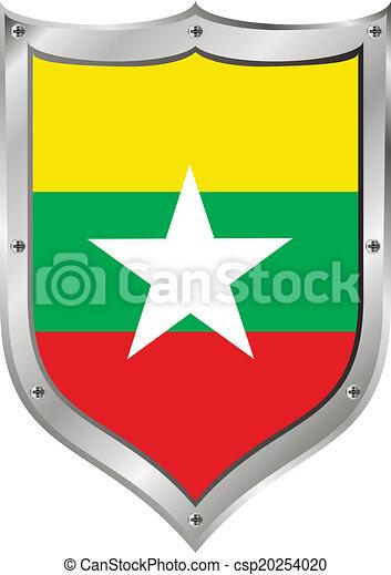 Myanmar flag button. Myanmar flag button on a white background. vector illustration.