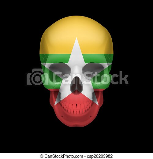 Myanmar flag skull - csp20203982