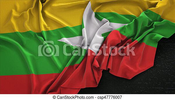Myanmar Flag Wrinkled On Dark Background 3D Render - csp47776007