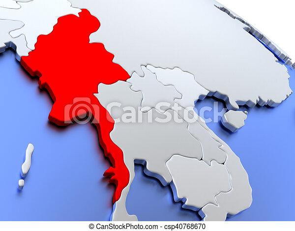 Myanmar on world map map of myanmar on elegant silver 3d stock myanmar on world map stock illustration gumiabroncs Images